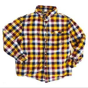 CHEROKEE Plaid Button down Shirt Mustard/Denim 5T